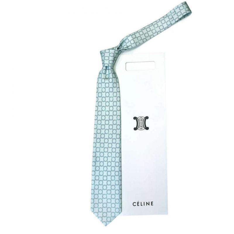 Голубой шелковый галстук Celine с ажурным узором