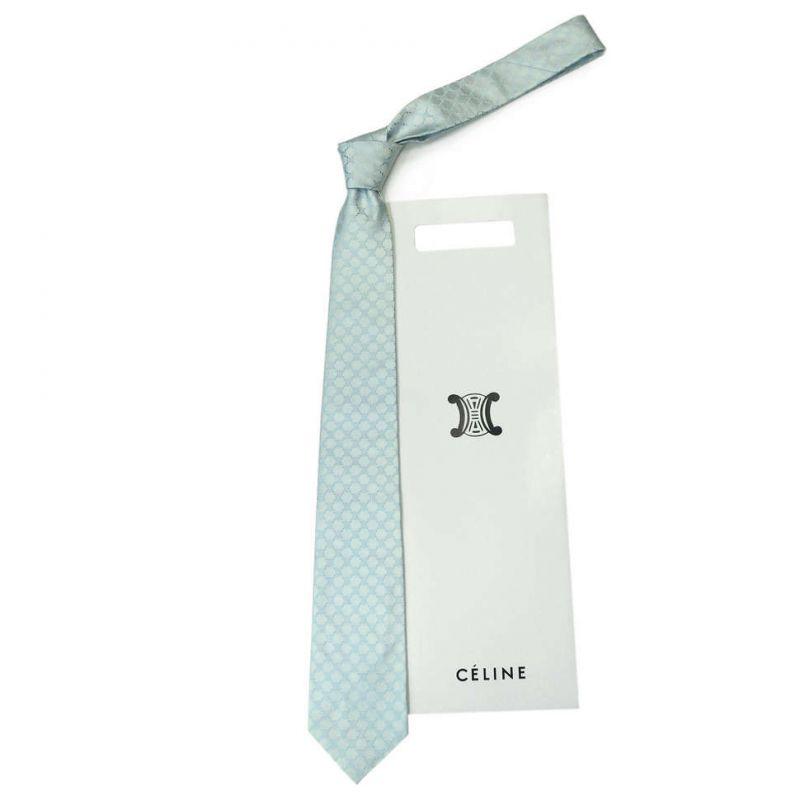 Голубой шелковый галстук с логотипами Celine