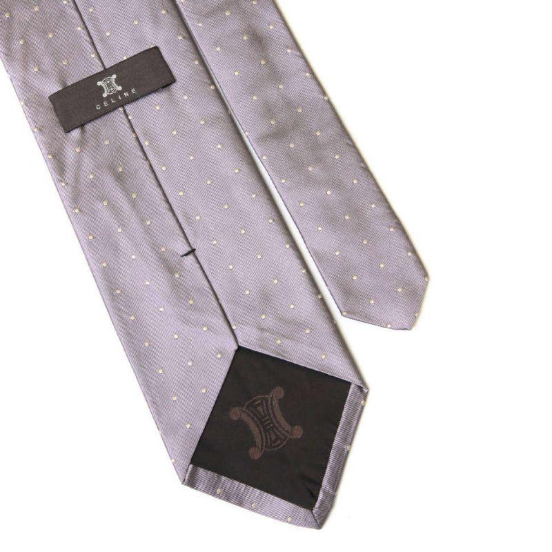 Сиреневый шелковый галстук Celine в горошек