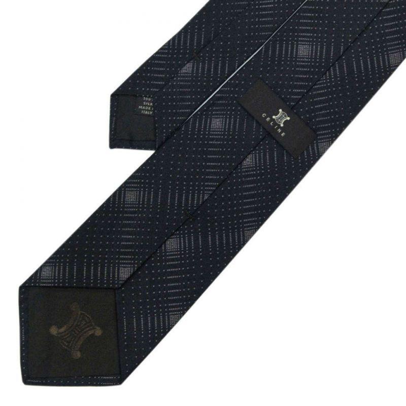 Серый шелковый галстук Celine с графическим узором