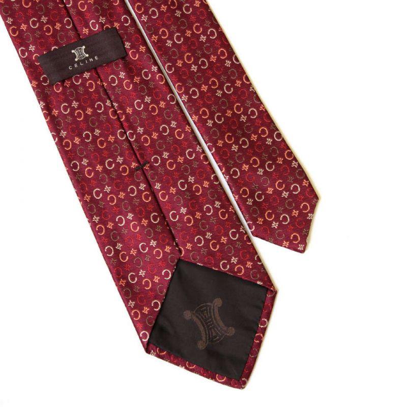Тёмно-красный шелковый галстук с логотипами Celine