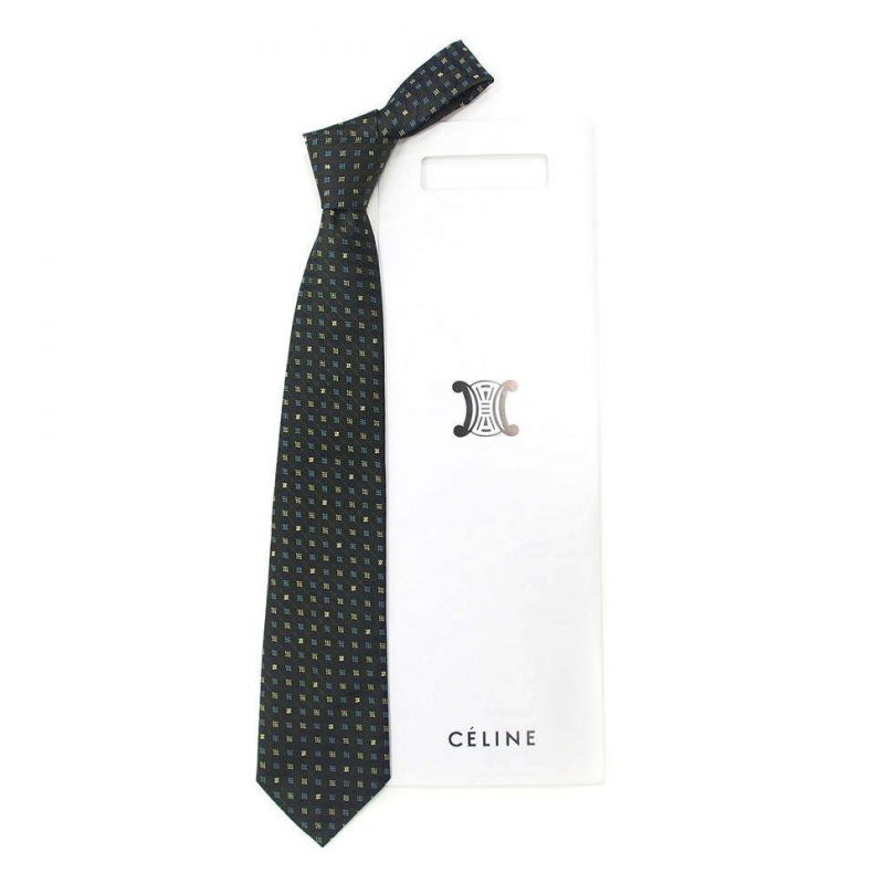 Тёмно-синий шелковый галстук Celine с жаккардовым плетением