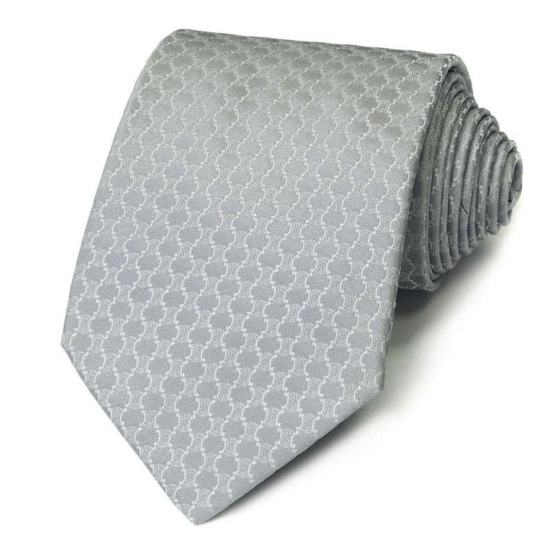 Серебристый шелковый галстук Celine с узором из логотипов