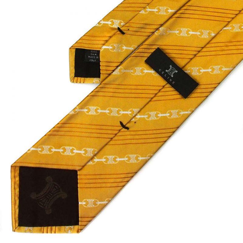 Солнечно-жёлтый шелковый галстук Celine в полоску