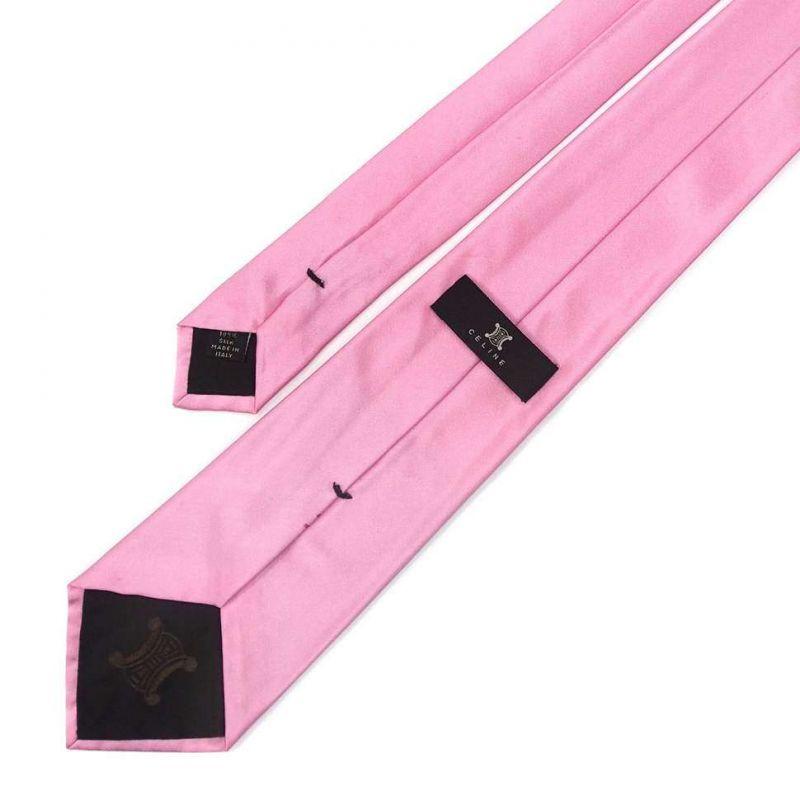 Розовый однотонный галстук Celine из шёлка