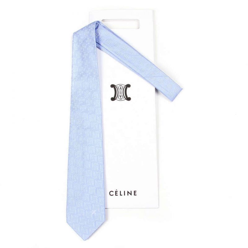 Голубой жаккардовый галстук Celine из шёлка