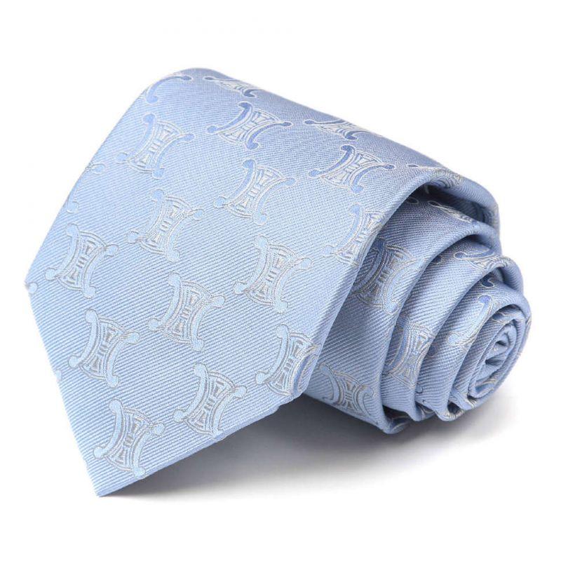 Голубой галстук с логотипами Celine из шёлка