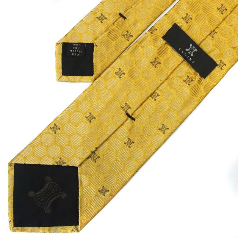 Золотой шёлковый галстук со значками Celine в горошек