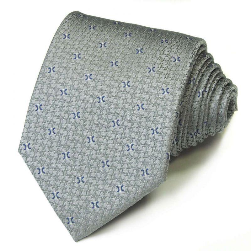 Серо-голубой шёлковый галстук Celine с рисунком