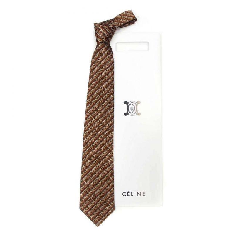 Коричневый шёлковый галстук Celine в полоску