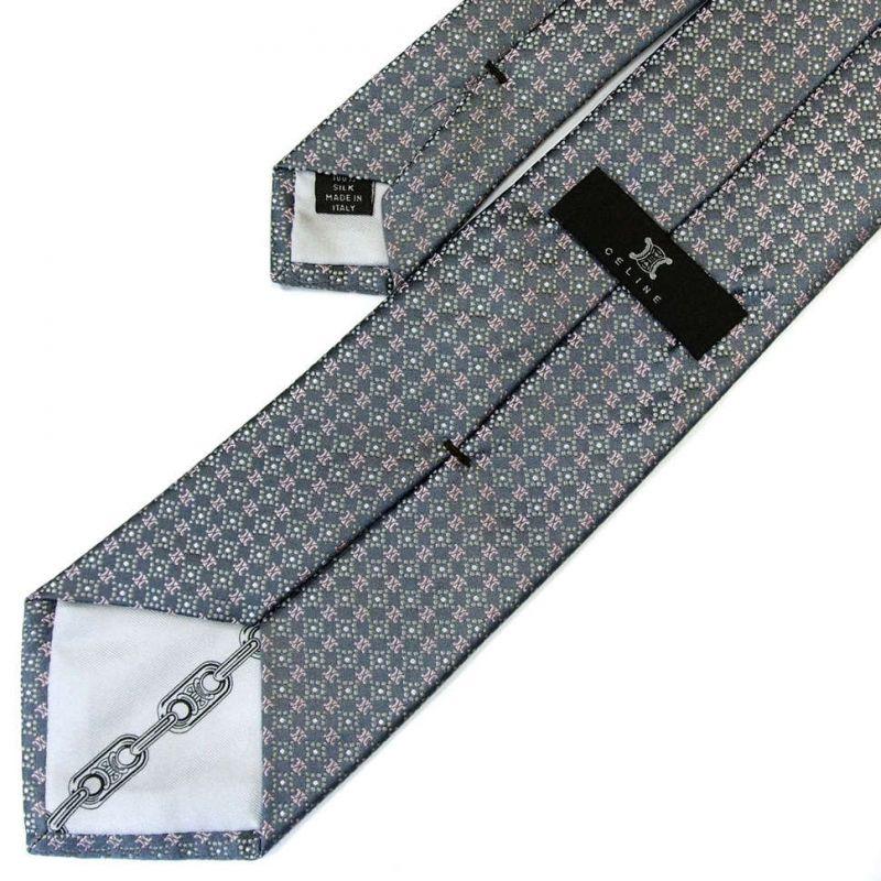 Серый шёлковый галстук с розовыми логотипами Celine