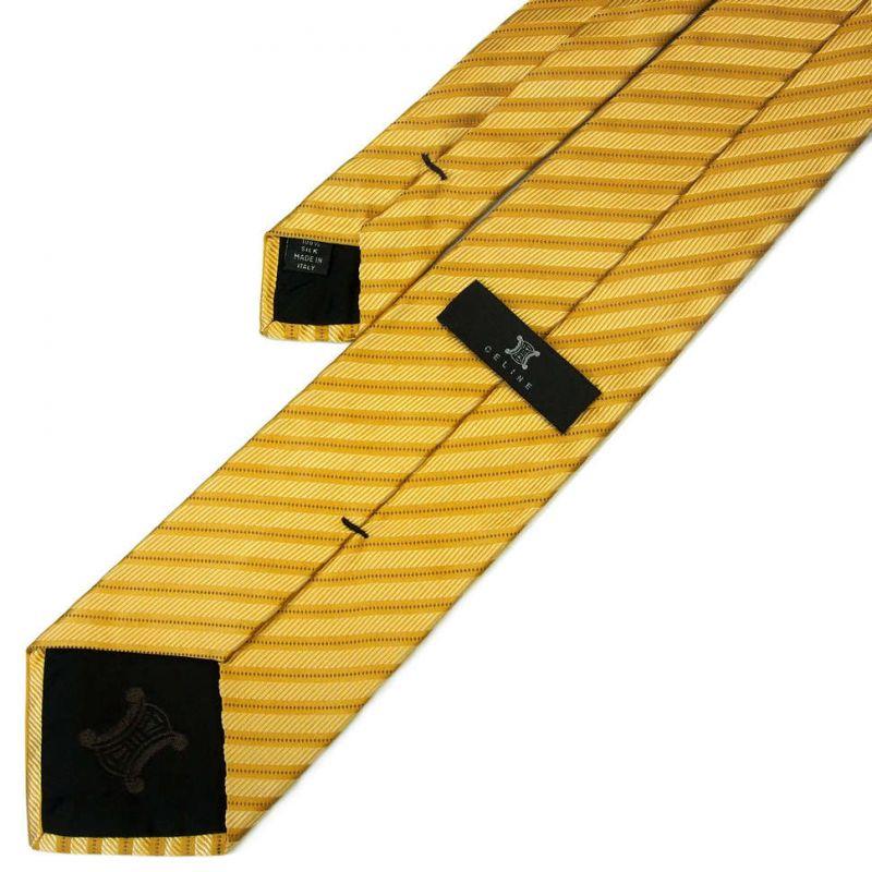 Жёлтый шёлковый галстук Celine в полоску