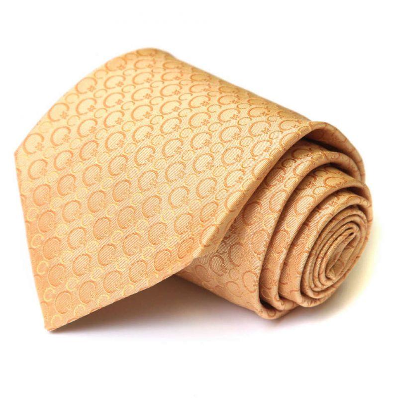 Персиковый шёлковый галстук Celine с логотипами