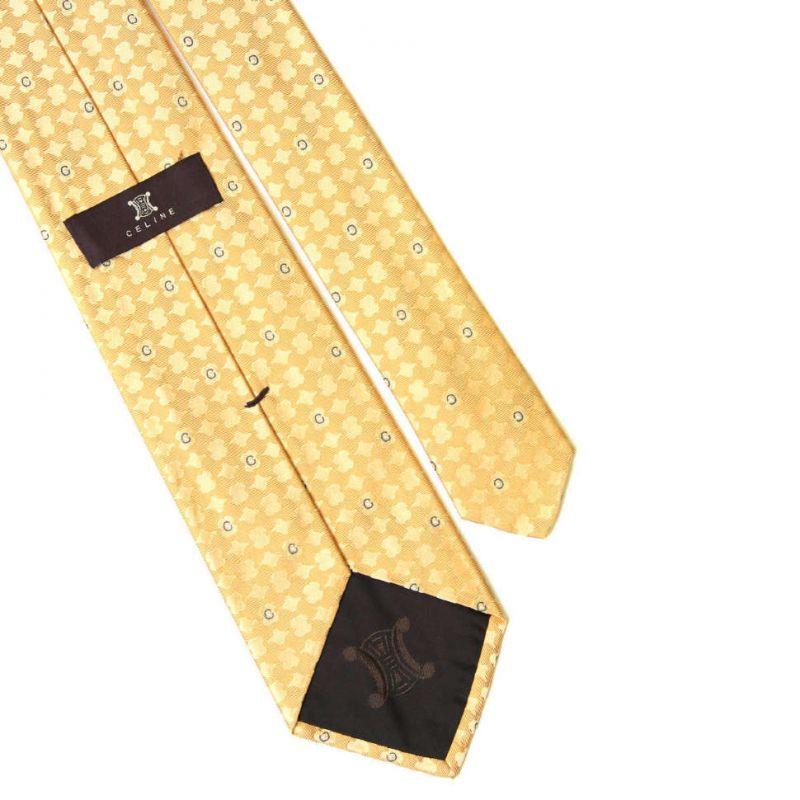 Светло-жёлтый шёлковый галстук Celine с рисунком