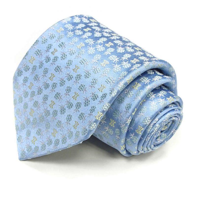 Голубой шёлковый галстук Celine с растительным рисунком