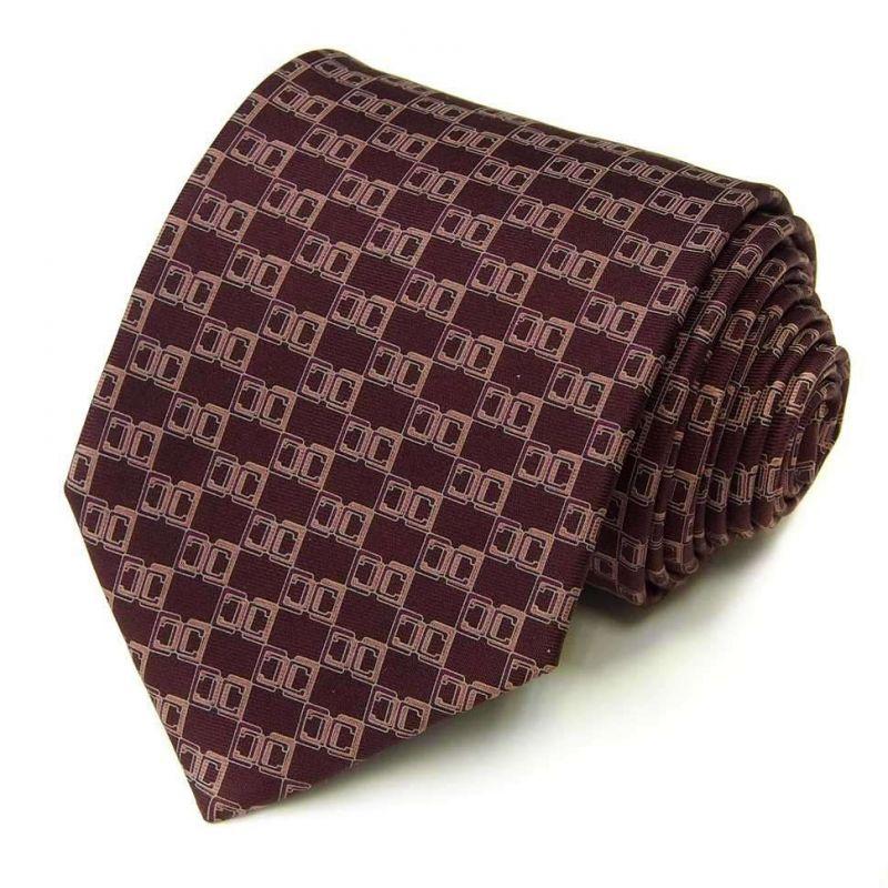Коричневый шёлковый галстук Celine с рисунком