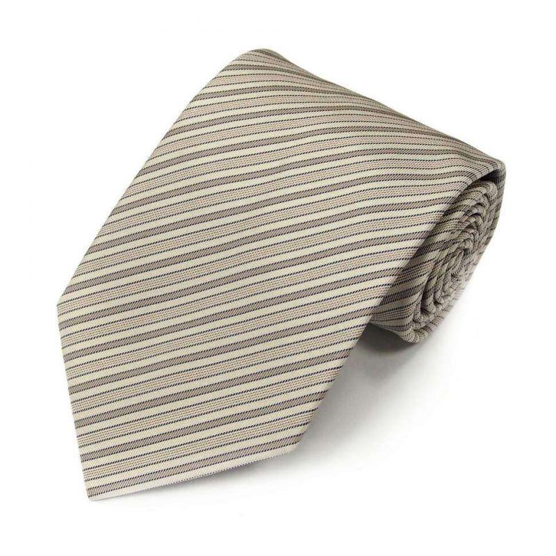 Серо-бежевый шёлковый галстук Celine в полоску