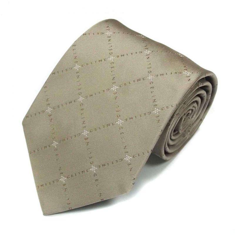 Серо-бежевый шёлковый галстук Celine с логотипами