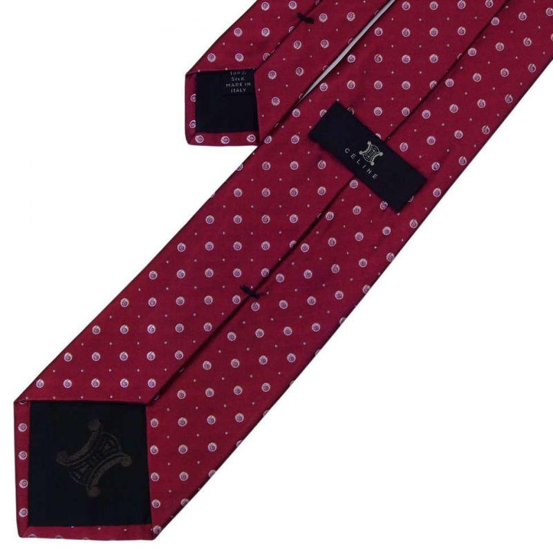 Бордовый шёлковый галстук Celine в горошек