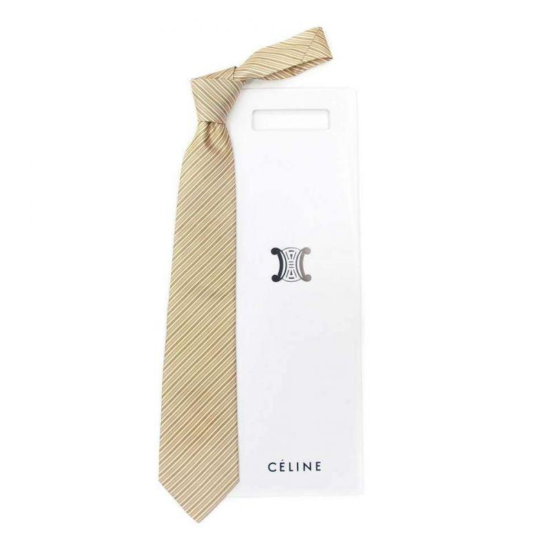 Светлый шёлковый галстук Celine в полоску