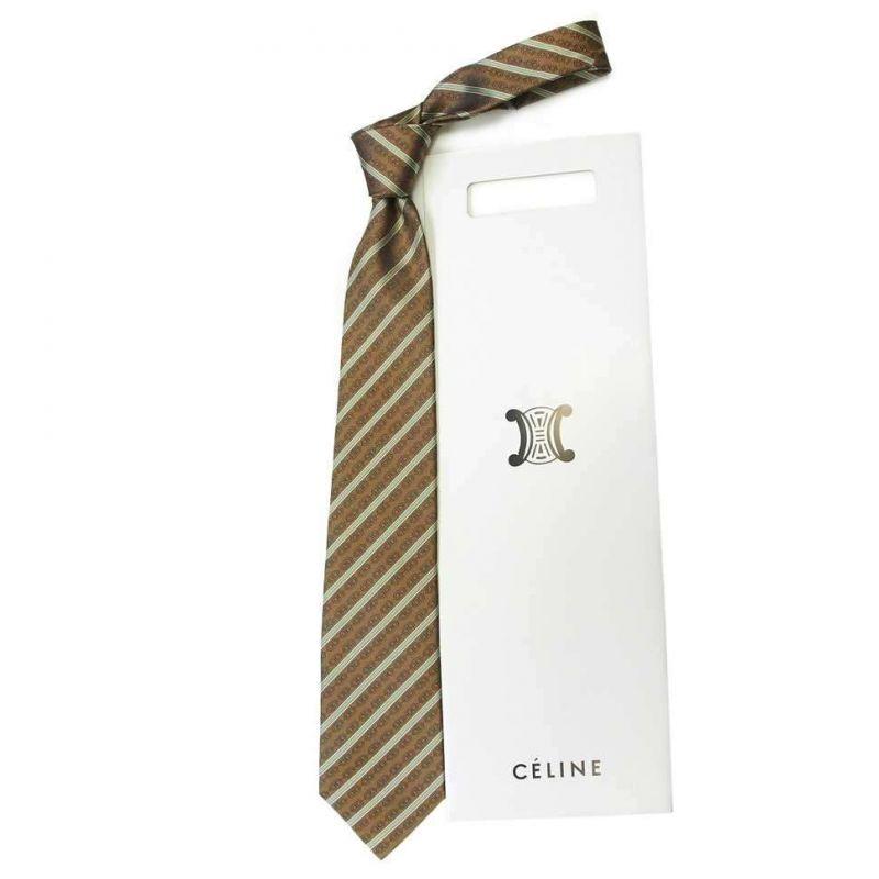 Коричневый шёлковый галстук Celine в салатовую полоску