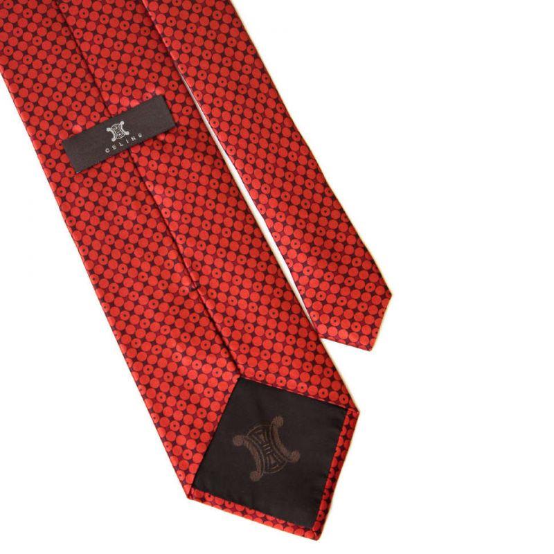 Красный шёлковый галстук Celine в горошек