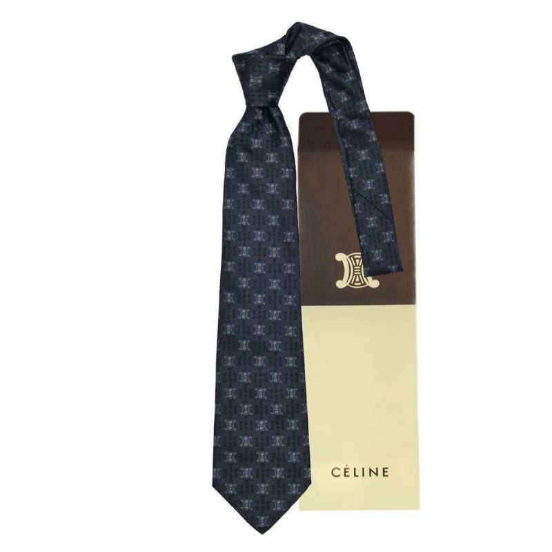 Тёмно-синий шёлковый галстук с логотипами Celine