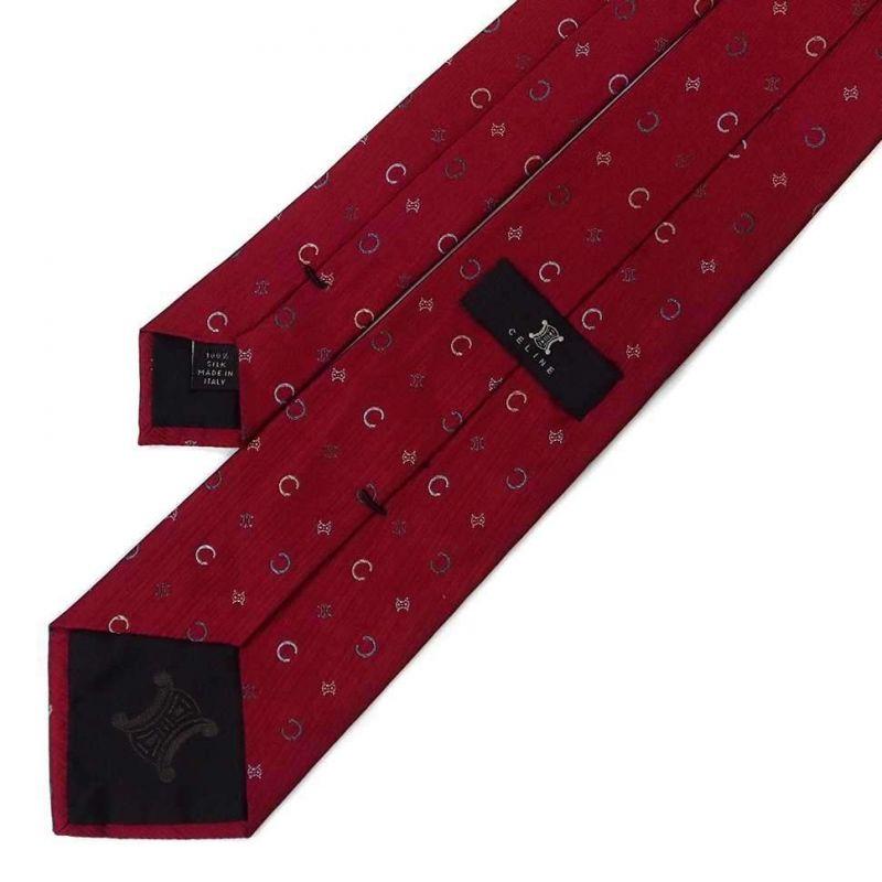 Бордовый галстук Celine из шёлка