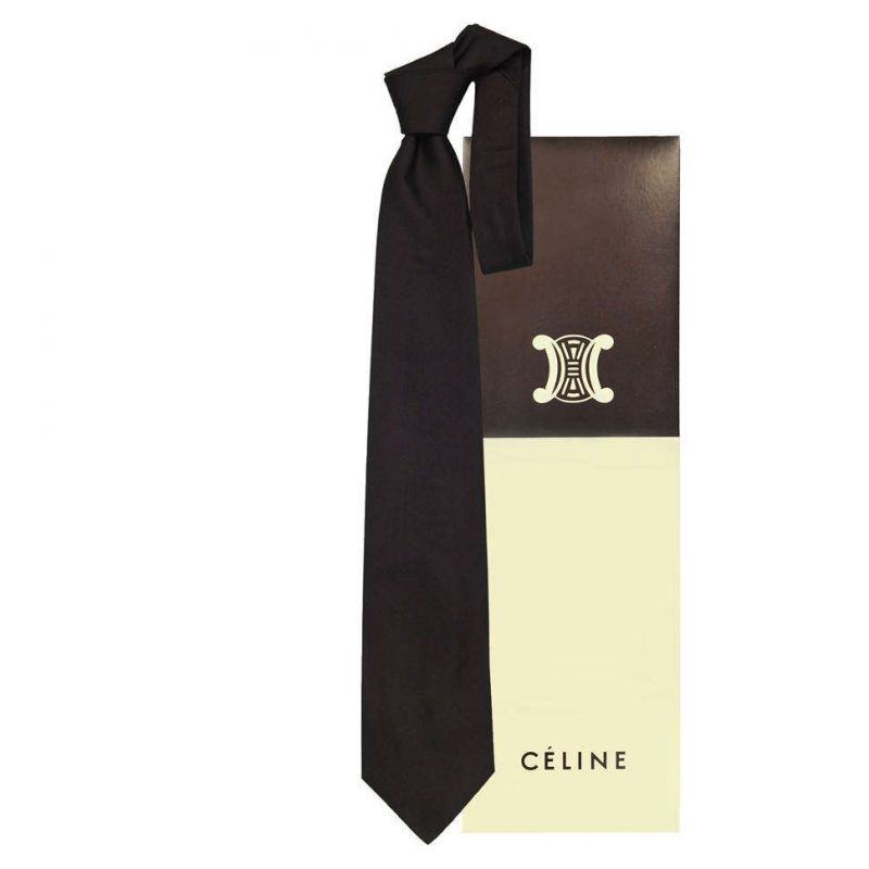 Тёмно-коричневый однотонный галстук Celine из шёлка