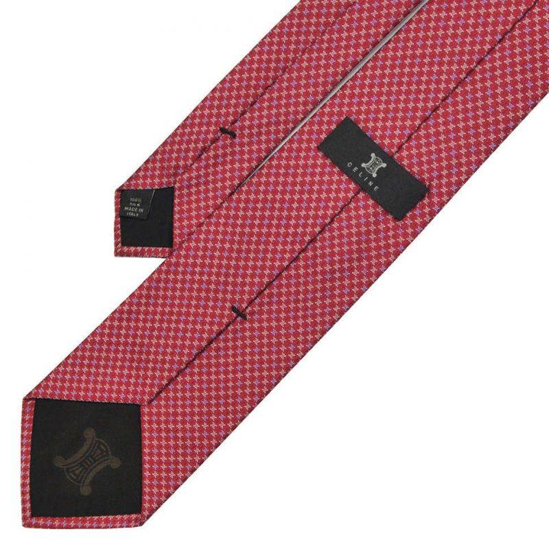 Пурпурный шёлковый галстук Celine с мелким рисунком