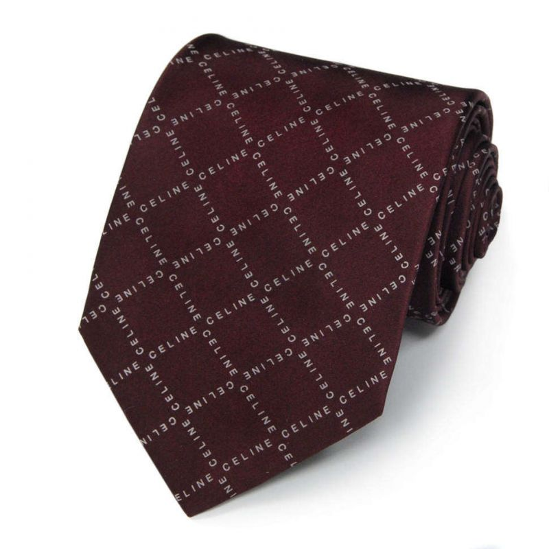 Коричневый шёлковый галстук Celine в клетку