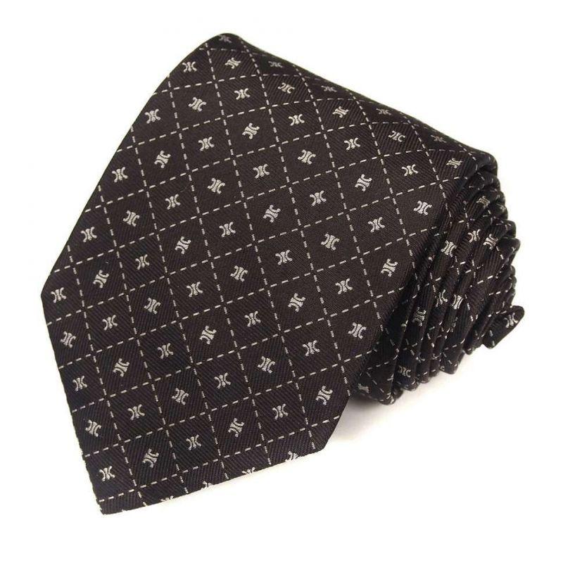 Коричневый шёлковый галстук с логотипами Celine