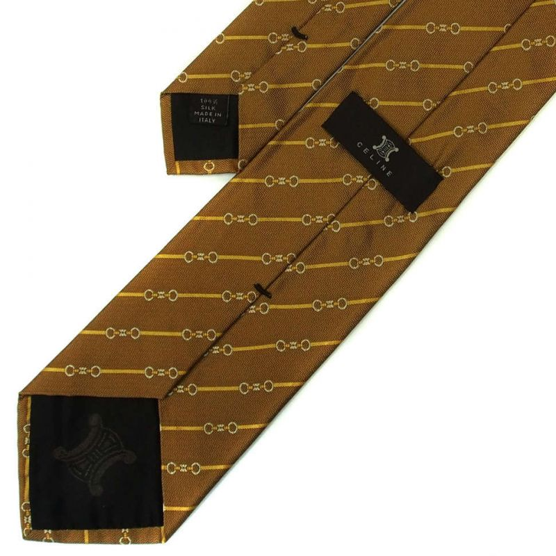 Светло-коричневый шёлковый галстук Celine в полоску