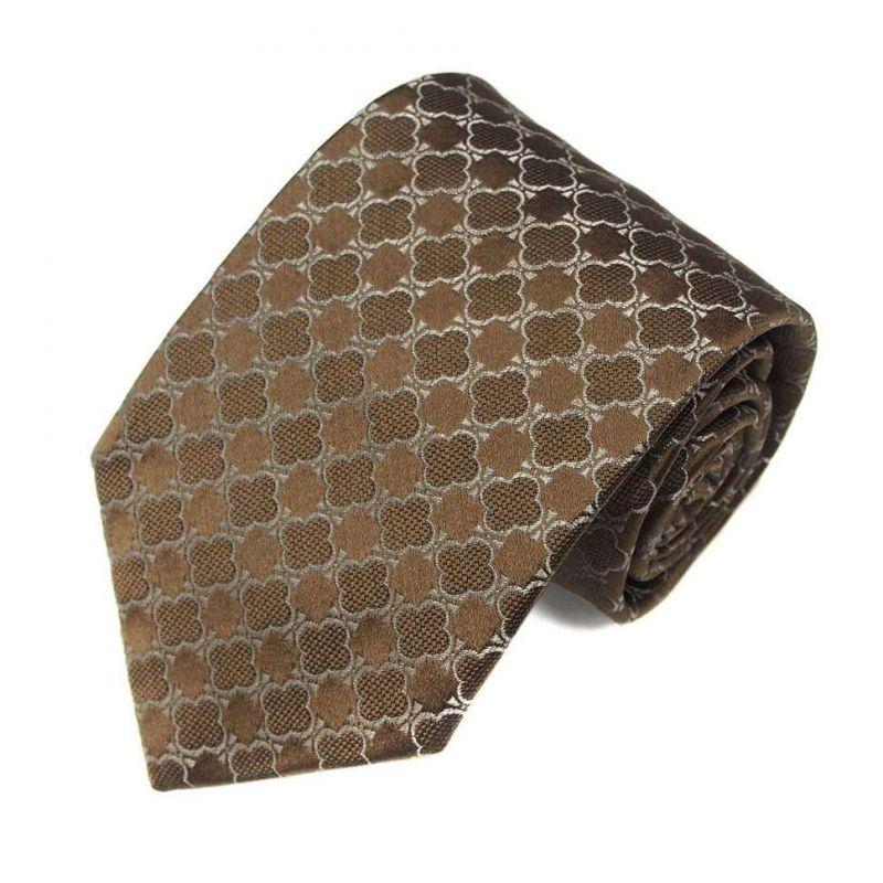 Коричневый шёлковый галстук Celine с узором