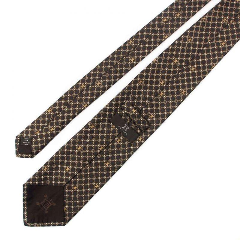 Коричневый шёлковый галстук Celine в горошек