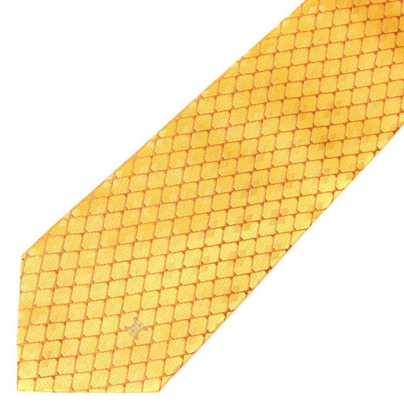 Жёлтый шёлковый галстук Celine в ромбик