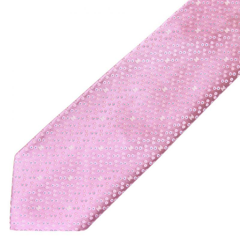 Сиреневый шёлковый галстук Celine в горошек