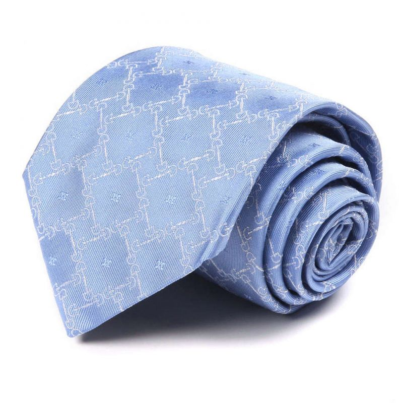 Голубой шёлковый галстук Celine с дизайнерским рисунком