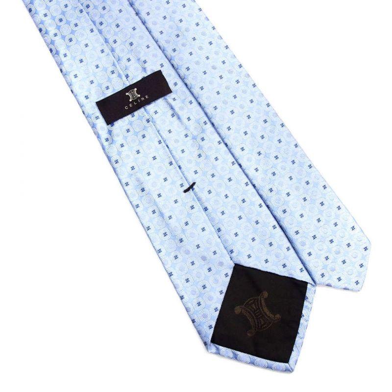 Светло-голубой шёлковый галстук с логотипами Celine