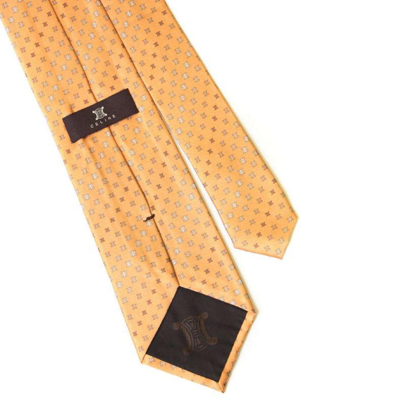 Шёлковый галстук персикового цвета с логотипами Celine