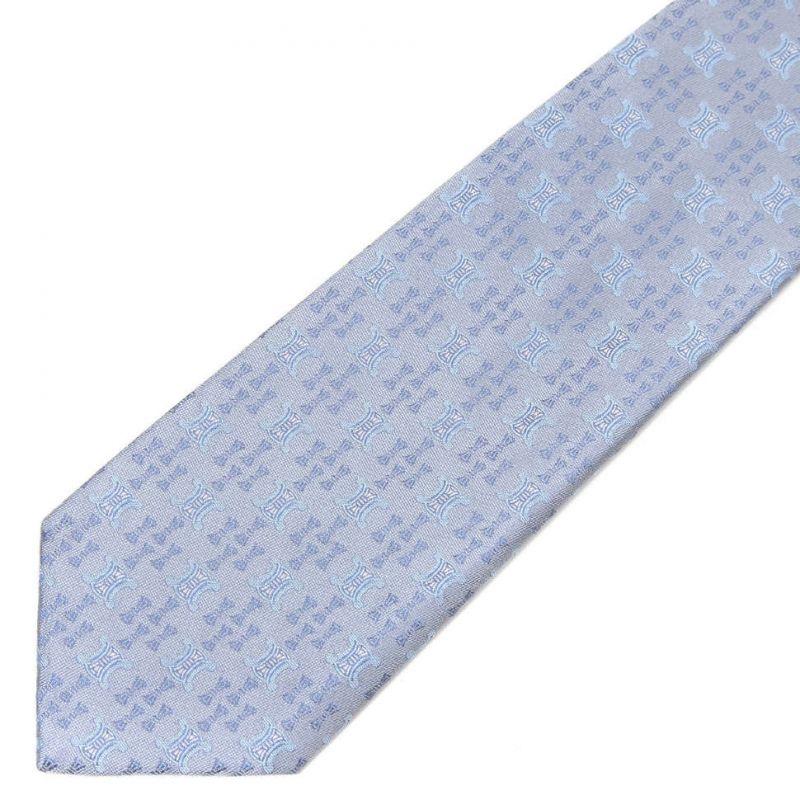 Голубой шёлковый галстук с логотипами Celine