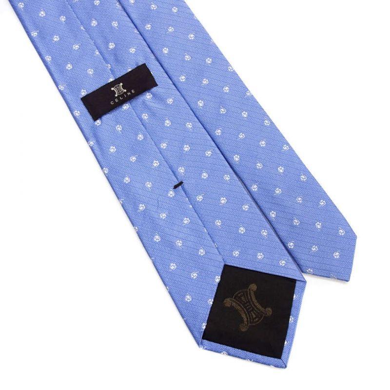 Голубой шёлковый галстук Celine с цветочным рисунком