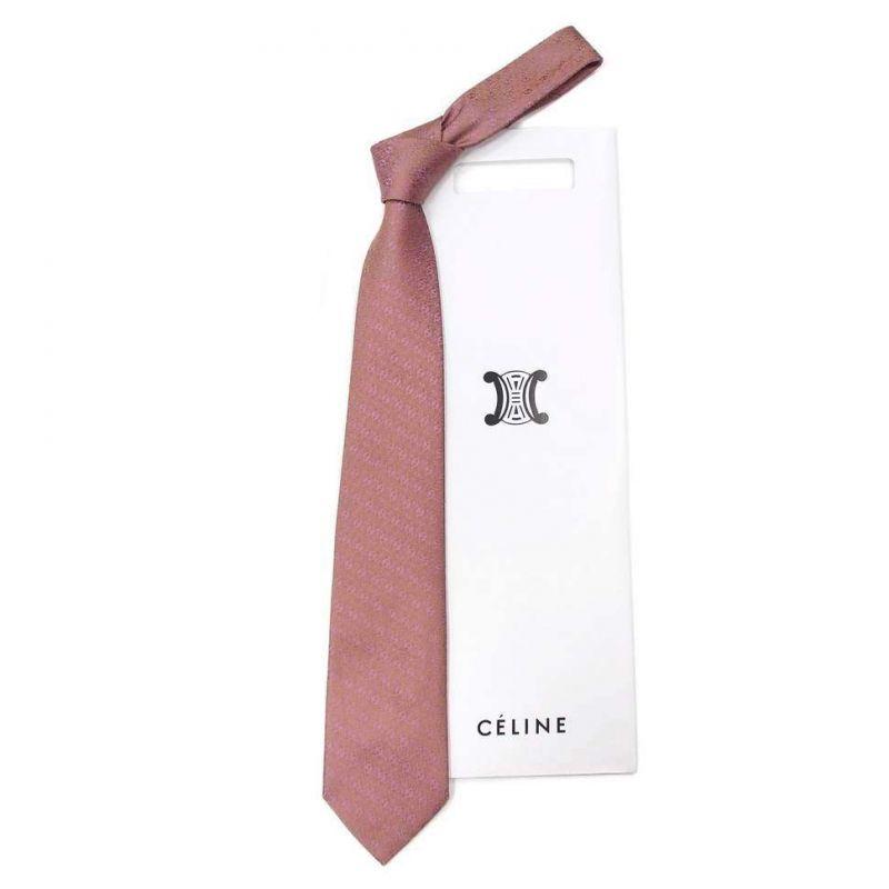 Бордовый шёлковый галстук Celine с мелким рисунком