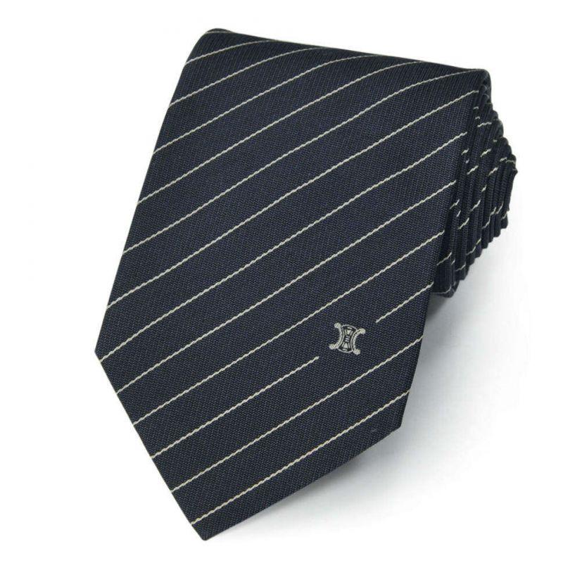 Синий шёлковый галстук Celine в полоску