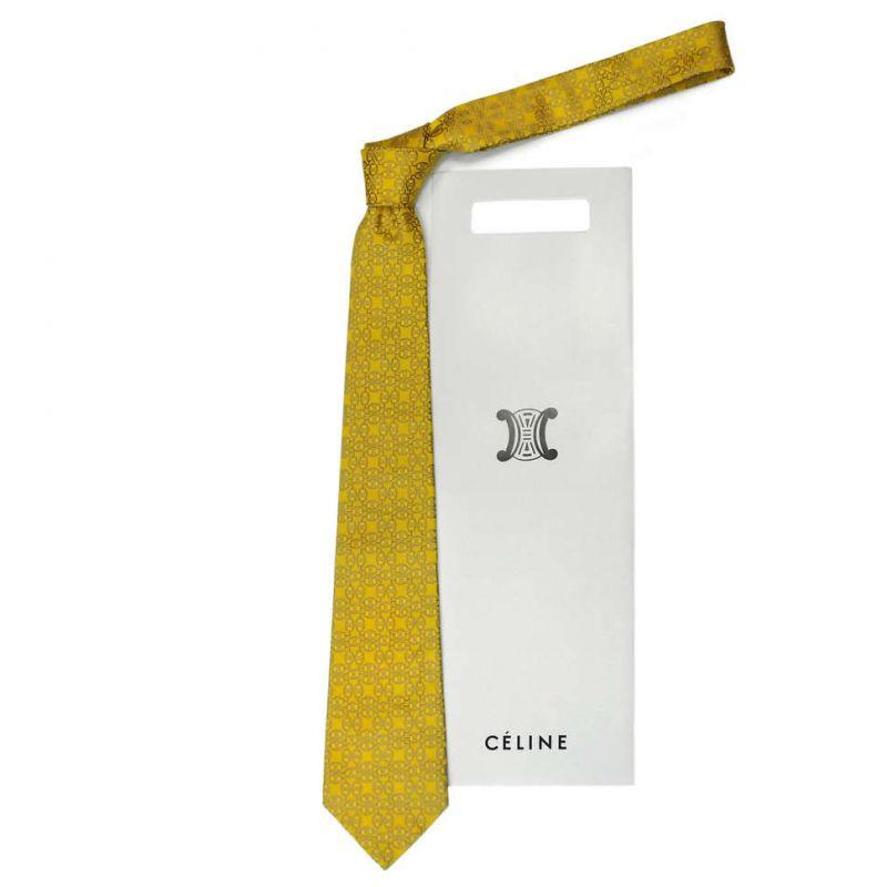 Жёлтый шёлковый галстук Celine с узором