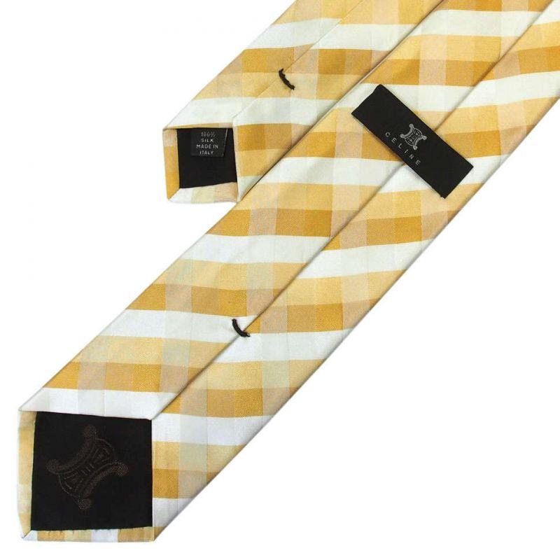 Жёлтый шёлковый галстук Celine в клетку