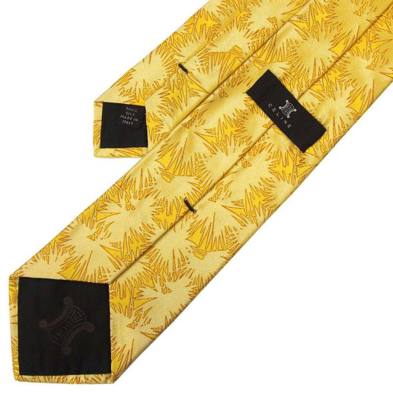 Жёлтый шёлковый галстук Celine с абстрактным узором