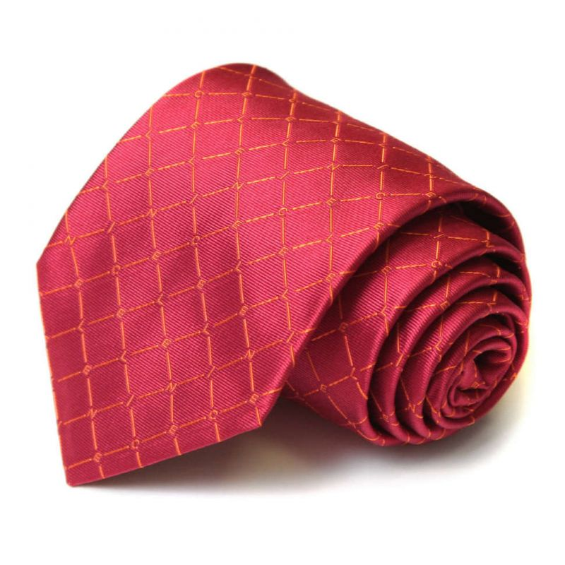 Пурпурно-красный шёлковый галстук Celine в ромбик