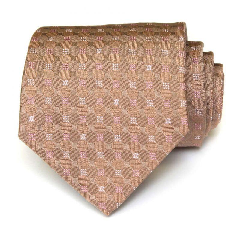 Бежевый шёлковый галстук Celine в горошек