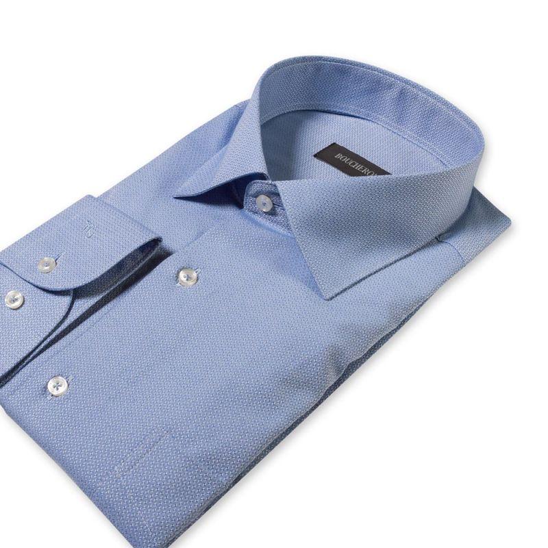 Рубашка синяя с узором удлиненная неприталенная